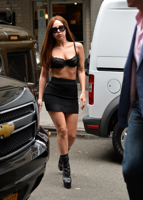 Laday Gaga seen out in nyc only wearing a bra and short skirt