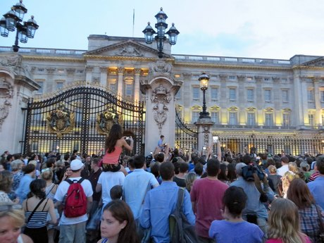 Crowds Gather At Buckingham Palace For Royal Baby Announcement