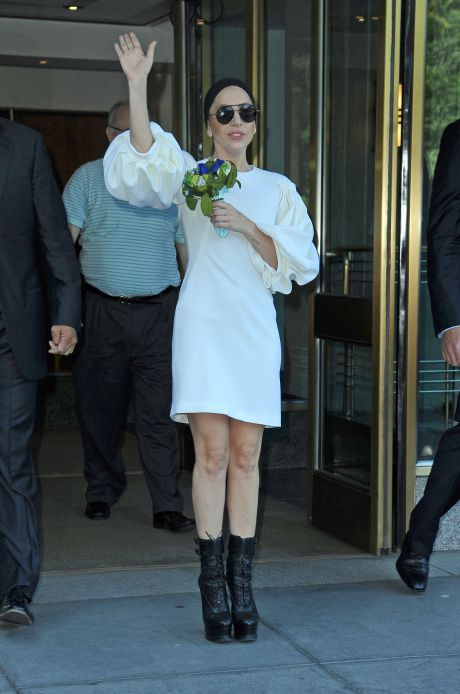 Lady Gaga Greets Fans Outside Her NY Apartment