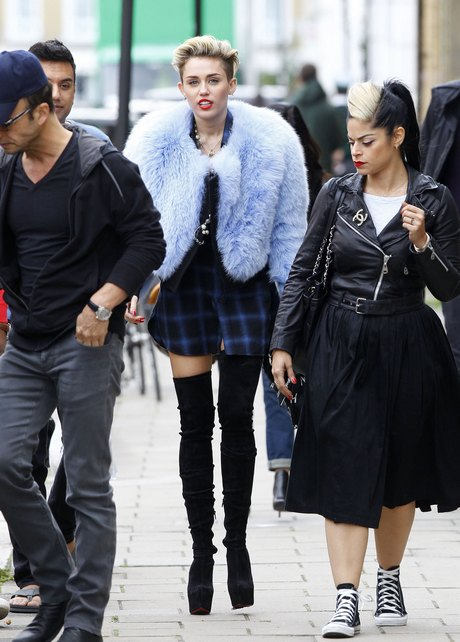 Exclusive... Miley Cyrus Shows Off A Unique Look In London