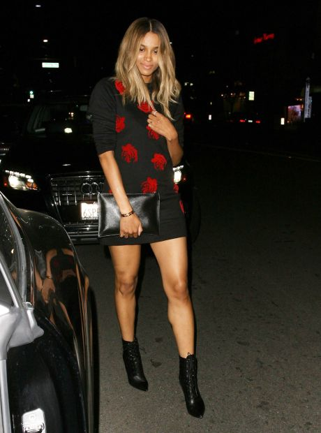 Ciara & Lily Collins Out For Dinner At Hakkasan