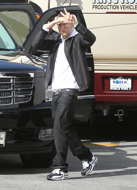 Eminem On Set Of Music Video In Los Angeles
